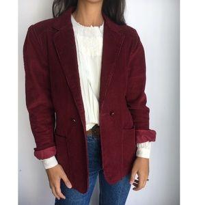 Vintage Burgundy Corduroy oversized blazer jacket
